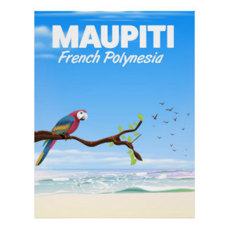 Maupiti French polynesia travel poster