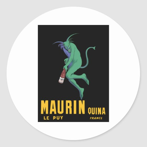 Maurin Quina - Cappiello 1906 - Absinthe Apertif Round Sticker