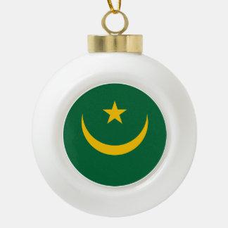 Mauritania Flag Ceramic Ball Christmas Ornament