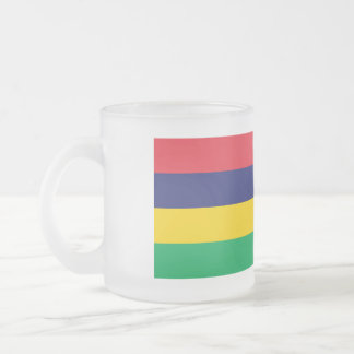 Mauritius Flag Frosted Glass Coffee Mug