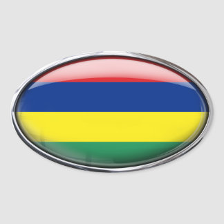 Mauritius Flag Glass Oval Oval Sticker