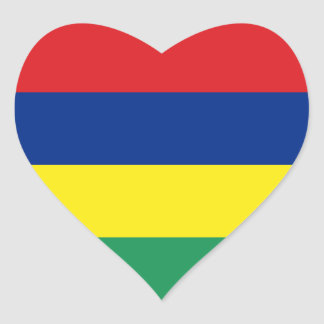Mauritius Flag Heart Sticker