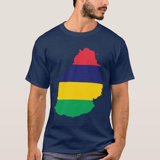 Mauritius Flag Map T-Shirt