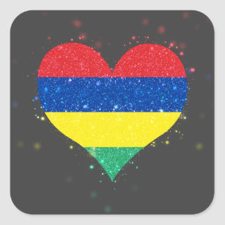 Mauritius Flag Shining Beautiful Square Sticker