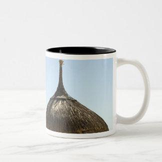 Mauritius. Idyllic beach scene with umbrella Two-Tone Coffee Mug