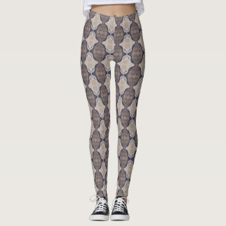 Mauve and Beige Abstract Leggings