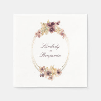 Mauve and Gold Vintage Watercolor Flowers Disposable Napkin