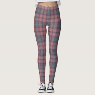 Mauve and Gray Winter Plaid Leggings