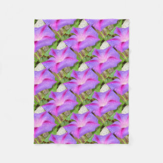Mauve and Magenta Morning Glory with Water Drops Fleece Blanket