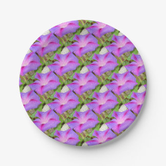 Mauve and Magenta Morning Glory with Water Drops Paper Plate