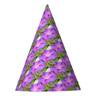 Mauve and Magenta Morning Glory with Water Drops Party Hat