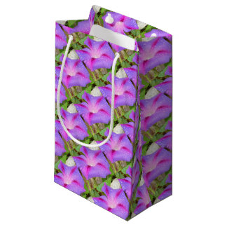Mauve and Magenta Morning Glory with Water Drops Small Gift Bag