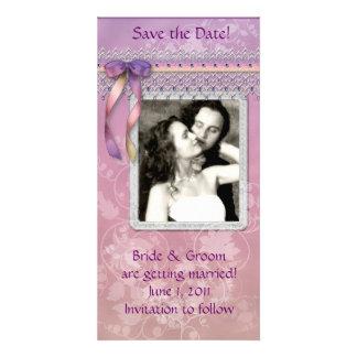 Mauve and Purple Save the Date Photo Card
