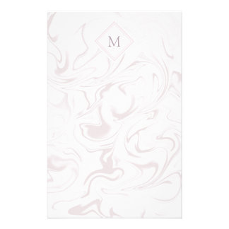 Mauve and White Marble look with Diamond Monogram Stationery