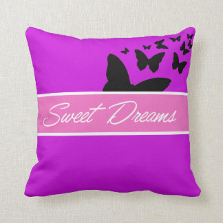 mauve butterfly sweet dreams throw pillow