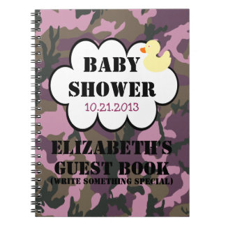 Mauve Camouflage Shower Guestbook Notebooks