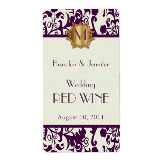 Mauve Damask Monogram Wedding Mini Wine Labels