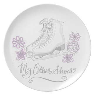 Mauve Figure Skate Custom Gift for Figure Skater Dinner Plate