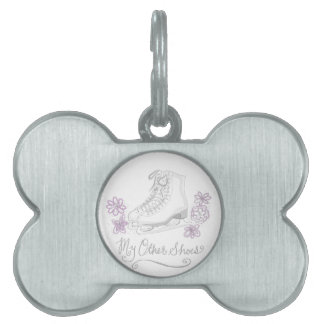 Mauve Figure Skate Custom Gift for Figure Skater Pet ID Tags