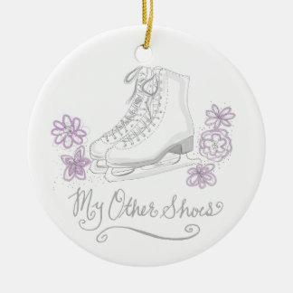 Mauve Figure Skate Custom Gift for Figure Skater Round Ceramic Ornament