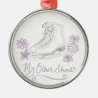 Mauve Figure Skate Custom Gift for Figure Skater Silver-Colored Round Ornament