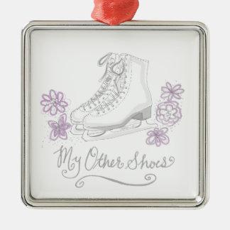 Mauve Figure Skate Custom Gift for Figure Skater Silver-Colored Square Ornament