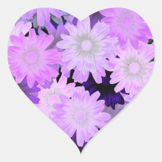 Mauve floral heart sticker