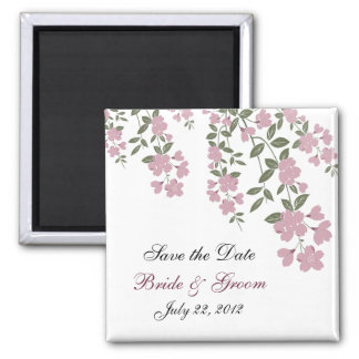 Mauve Floral Save the Date Magnet