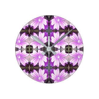Mauve Flower Photo Fractal Wall Clock