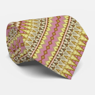 Mauve, Gold and Taupe Diagonal Fractal Pattern Tie