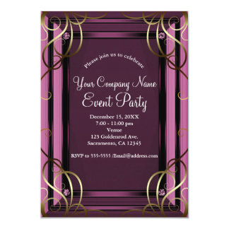 Mauve Gold Elegant Company Corporate Holiday Party Card