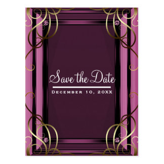 Mauve Gold Elegant Company Corporate Save the Date Postcard