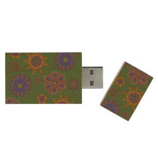 Mauve & Gold Flowers 128GB 3.0 Wood USB 3.0 Flash Drive