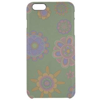 Mauve & Gold Flowers Clear iPhone 6 Plus Case