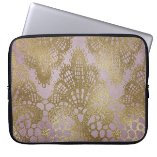 Mauve Gold Lace Bodacious Line Laptop Case