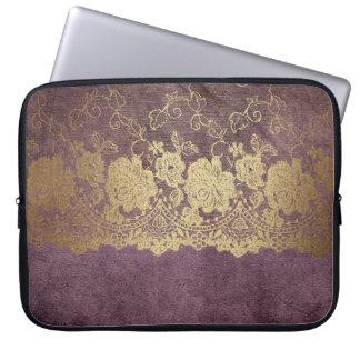 Mauve Gold Lace Crushed Velvet Laptop Case