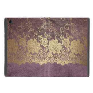 Mauve Gold Lace Crushed Velvet No Kickstand iPad Case For iPad Mini