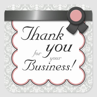 "Mauve & Gray Damask ""Thank you for your Business"" Square Sticker"
