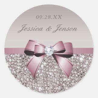 Mauve Gray Sequins Diamonds Bow Wedding Classic Round Sticker