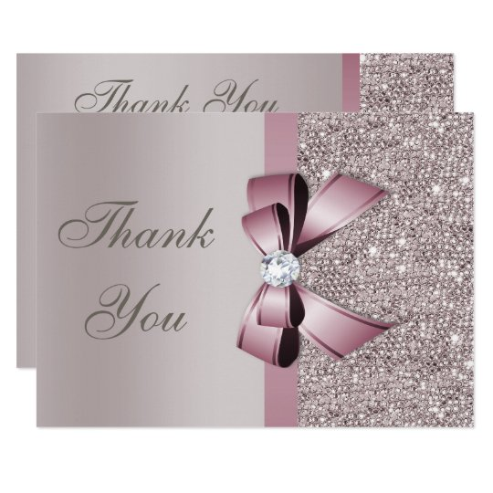 Mauve Grey Sequins Diamonds Bow Thank You Card