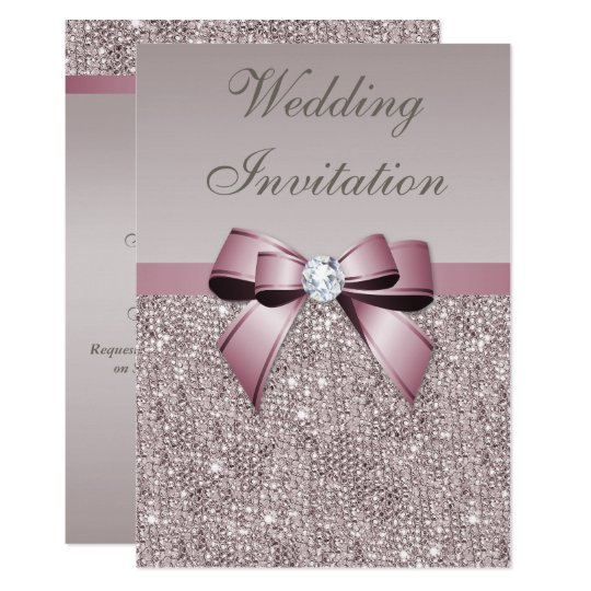 Mauve Grey Sequins Diamonds Bow Wedding Card
