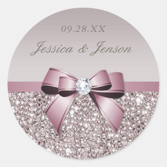 Mauve Grey Sequins Diamonds Bow Wedding Classic Round Sticker