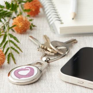 Mauve heart dragon on white keychain