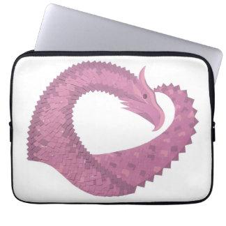 Mauve heart dragon on white laptop sleeve