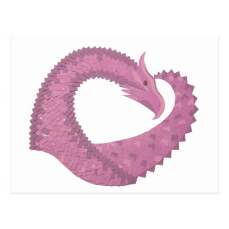 Mauve heart dragon on white postcard