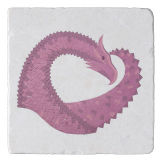 Mauve heart dragon on white trivet