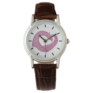 Mauve heart dragon on white watch