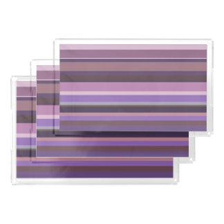 Mauve horizontal stripes acrylic tray