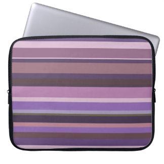 Mauve horizontal stripes laptop sleeve