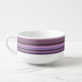Mauve horizontal stripes soup mug